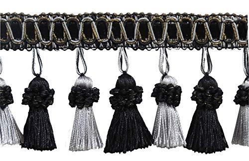 DÉCOPRO Elegant 3 Inch Long Vintage Black, Silver Grey Tassel Fringe3 /...