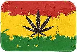 EGGDIOQ Doormats Rastafarian Flag Marijuana Cannabis Leaf Custom Print Bathroom Mat Waterproof Fabric Kitchen Entrance Rug...