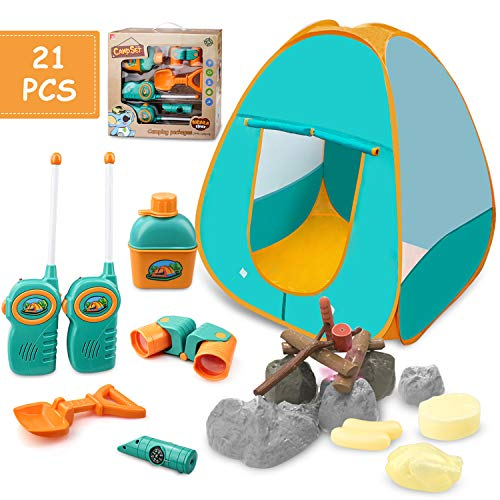 GrowthPic Kids Play Tent, Pretend Play Camping Tool Set with Campfire, Telescope, Walkie Talkies, Kids Camping Set with Tent, Indoor Outdoor Activities Camping Gear for Preschool Toddler Boys Girls