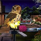 Ulalaza Luces solares al Aire Libre Forma de búho Lámpara LED con energía Solar Luces de jardín Impermeables Luces de estaca para Pasarela