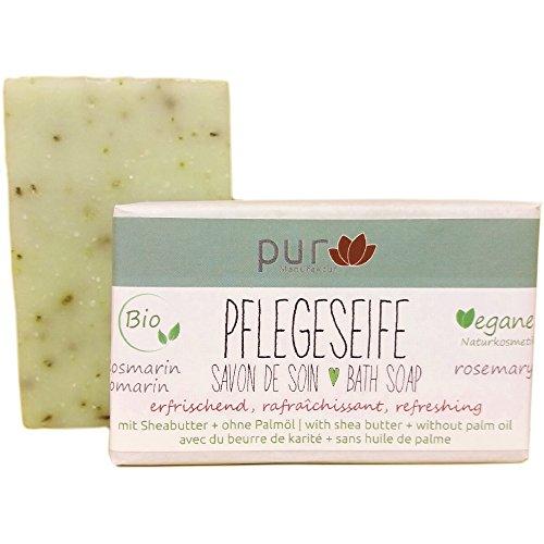 Manufaktur Pur Bio Olivenseife Natur-Olivenölseife Rosmarin mit Lavendel und Salbei 100 g