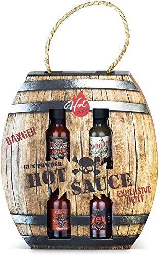 Modern Gourmet Foods - 4 Scharfe Chili-Saucen Geschenkset - Hot Sauce Set in Schiefpulver-Fass Geschenkbox