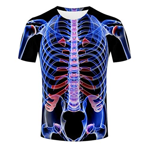 Preisvergleich Produktbild TWISFER Lustig 3D Bedruckt T-Shirt Herren Party Casual 3D Körperstruktur Bedruckt Rundhals Kurzarm Top Bluse Sommer T-Shirt Sport Fitness Graphics Tees Shirt