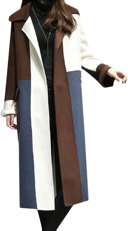 Tryist Women's Warm Fall Winter Lapel Mid Long Contrast Stylish Coat