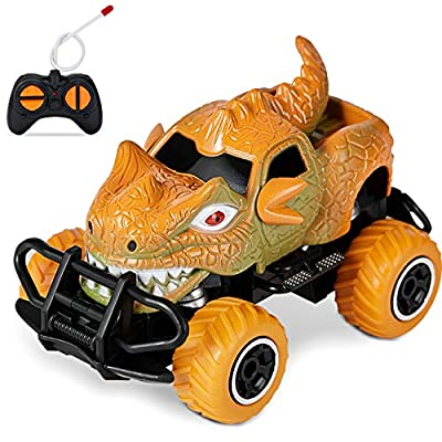 HahaGift Dinosaur Toys for Kids 3-5, Dinosaur Remote Control Car, Ideal Christmas Birthday Gifts for Boys Age 2 3 4 5 6 7 Year Old, Fast RC Car Toys for 2-8 Year Old Boy, Kids, Toddler (Orange)