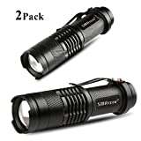 SMAtech Flashlights Led Flashlight Mini Torch Light 350 Lumen Portable Ultra Bright Zoomable for Camping, Emergency, Night Fishing, Night Riding [2 Pack]