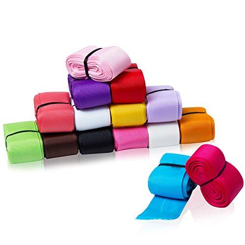 Lote de 15 cintas de grogrén de cinta textil, color puro, cinta de poliéster, 25 mm de ancho, material de ocio creativo para boda