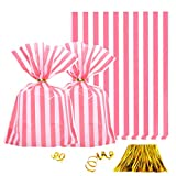 Clear Plastic Cellophane Treat Bags - Pink Stripes Party Favors Cello Bags Wedding Baby Shower Girls Birthday Carnival Party Cookie Candy Treat Favors Bags, 100pc