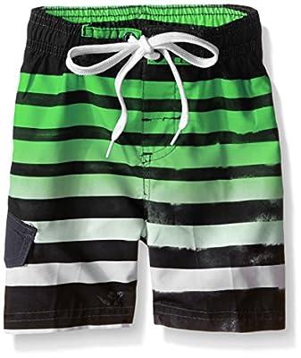 Kanu Surf Boys' Toddler Quick Dry UPF 50+ Beach Swim Trunk, Reflection Black/Green, 4T