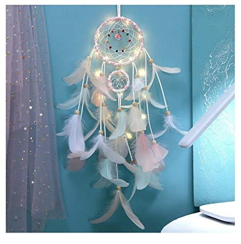 Atrapasueños indio para niñas con forma de corazón, tejer, decoración del hogar, farol LED, regalo (con luz)