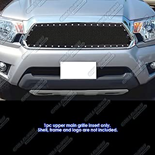 APS Compatible with 2012-2015 Toyota Tacoma Stainless Steel Black Rivet Stud Mesh Grille Insert TL6971H