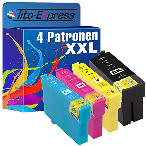 Tito-Express PlatinumSerie 4 Patronen XXL kompatibel mit Epson T3471 T3472 T3473 T3474 34XL | Epson Workforce Pro WF-3700 WF-3720 DW Series WF-3725 DWF WF-3720DW WF-3720DWF WF-3725DWF