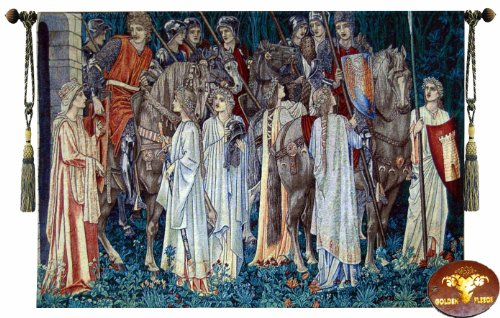 Beautiful Holy Grail Medieval-the Arming and Departure of the Knights Medieval Fine Tapestry Jacquard Woven Wall Hanging Art Decor