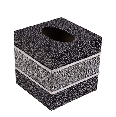 S Forever Home Decor Cube Tissue Box Holders PU Leather Square Tissue Box Cover (Silver)