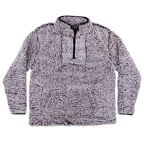 Victoria's Secret Pink Sweatshirt Fuzzy Sherpa Quarter Zip Pullover (XL, Purple)