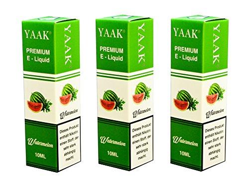 YAAK® Premium E-Liquid / Liquid 3 x 10 ml Wassermelone ohne Nikotin / E-Zigaretten, Elektrische-Zigarette, E-Shisha / Geschmacksaroma Watermelone