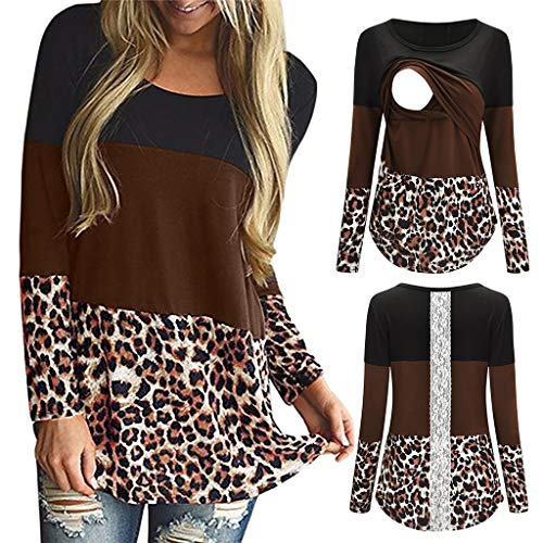 Damen Sommer Herbst Breastfeeding T-Shirt O Ausschnitt Lange Ärmel Beiläufige Frauen Bedruckt Stretch Große Weste Hemden Bluse Baumwolle Polyester Bequeme Pflege Tee Top (EU:38, Kaffee)