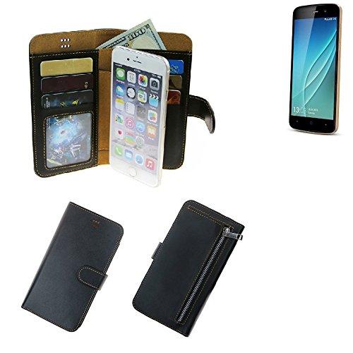 K-S-Trade® Schutzhüll Für Allview P6 Lite Schutz Hülle Portemonnaie Case Phone Cover Slim Klapphülle Handytasche E Handyhülle Schwarz Aus Kunstleder (1 STK)