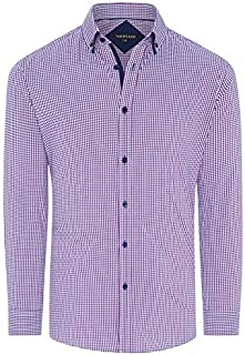 Tarocash Men's Oconnell Stretch Mini Check Shirt Regular Fit Long Sleeve Sizes XS-5XL for Going Out Smart Occasionwear