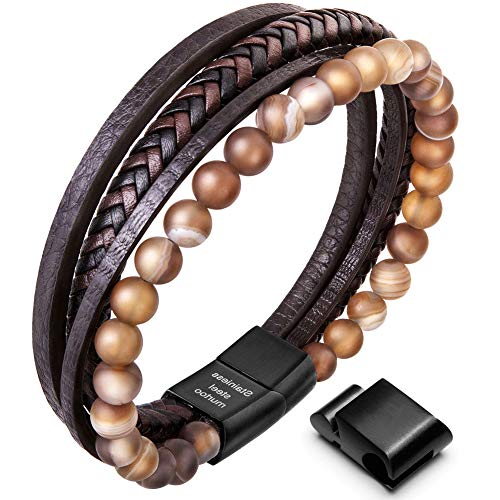 New Mens Bracelet Bead and Leather Braided, Lava and Onyx Bead Leather Bracelet for Men (Brown, 8.7)