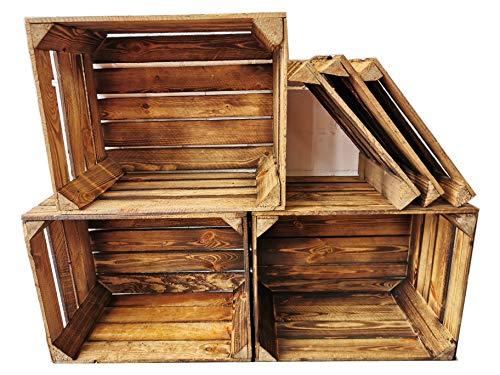 Teramico 3-delige set massieve gebruikte fruitkisten 50 x 40 x 30 cm in natuur en gevlamd met tussenplanken om zelf in te bouwen, ideaal voor meubelbouw of opslag