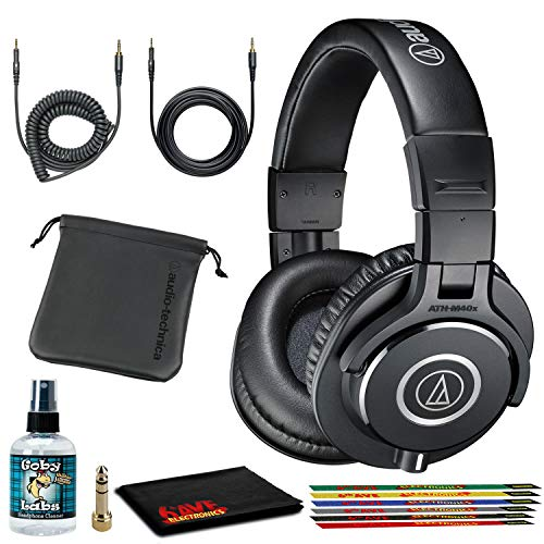 Audio-Technica ATH-M40x Closed-Back Monitor Headphones (Black) Bundle with Cables, Carrying Pouch, and 6Ave Cleaning Kit