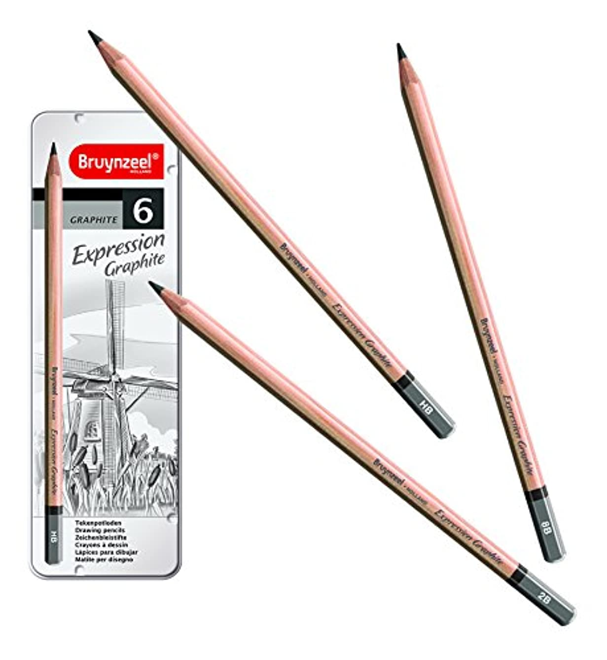 Bruynzeel Expression Graphite Drawing Pencils (Set Of 6 In Metal Tin Including Hb, 1B, 2B, 4B, 6B And 8B)
