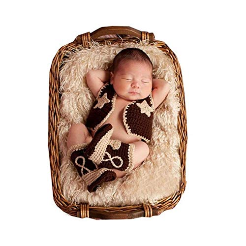 Fashion Unisex Newborn Boy Girl Baby Outfits Photography Props Cowboy Vest Boots