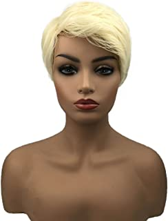 Wiginway Short Straight Platinum Blonde Wig Synthetic Hair Short Wig For Women Pixie Cut Hair Wigs