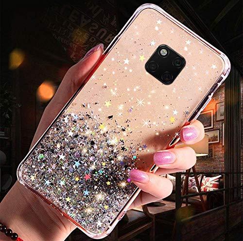Herbests Kompatibel mit Huawei Mate 20 Pro Handyhülle Glänzend Bunt Strass Sterne Glitzer Weich Silikon Hülle Ultra Dünn Crystal Clear Handytasche Durchsichtige Schutzhülle Case,Klar