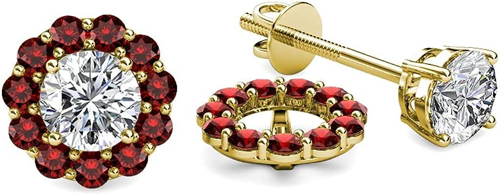 TriJewels Red Garnet Halo Jacket for Stud Earrings 0.66 ct tw in 14K Yellow Gold