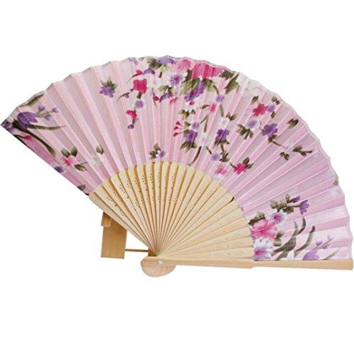 Binmer(TM) Japanese Cherry Blossom Folding Hand Dancing Wedding Party Decor Fan Chinese Fans (Pink)