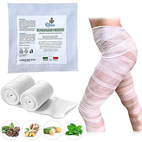 Ritalia Bende drenanti gambe / 2 Bende per bendaggi estetici/Bendaggi drenanti gambe con crema anticellulite/Bendaggio da estetista con 2 Bende drenanti Slim me fosfatidilcolina