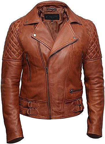 BRANDSLOCK Mens Genuine Leather Biker Jacket Cross Zip Retro Vintage