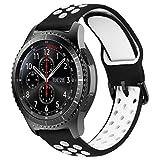 MroTech Correa 22mm Silicona Compatible para Samsung Galaxy Watch 46mm/Gear S3 Frontier/Classic Pulsera de Repuesto para GTR 47MM/Huawei Watch GT/Active/Elegant/GT2 46mm Band Deportiva, Negro/Blanco