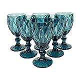 Homevibes Set De 6 Copas De Vino Azul con Relieve, Capacidad 330ml, Medidads 9 * 17cm, Copa De Vino, Cristaleria De Calidad (Azul)