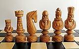 Juego de ajedrez de madera exclusivo CAESAR de lujo 60 x 60 cm Piezas de ajedrez de madera de cerezo talladas a mano