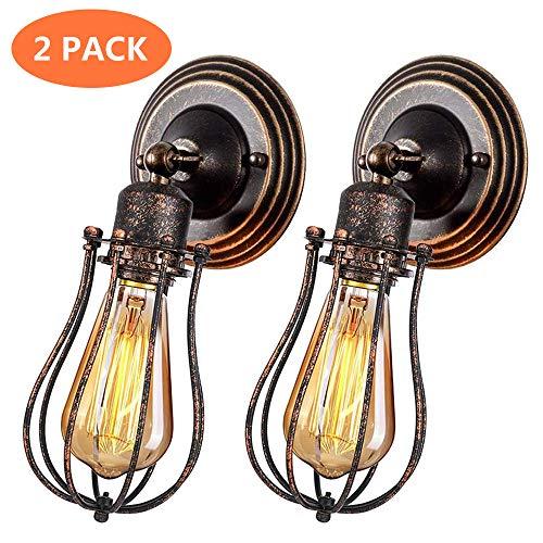 UFLIZOGH Wandlampe Industrial E27 Vintage 2 Stück Wandleuchte rustikal innen schwenkbar für Schlafzimmer Wohnzimmer Esstisch Dimmbar (Ohne Leuchtmittel)