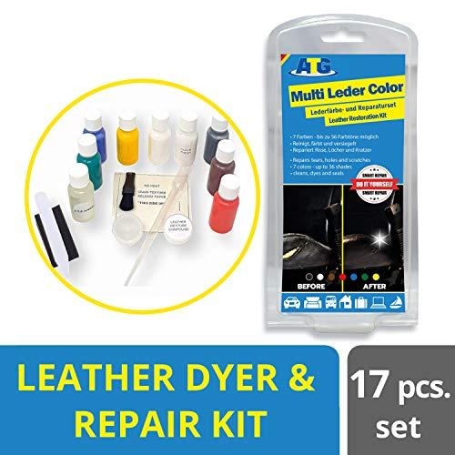 ATG ATG127 Lederfarbe- Lederreparatur Set | Auto Leder Kunstleder Reparatur | Autositz Reparaturset | Brandloch Reparatur Set Auto