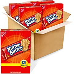 Four boxes with 12 snack packs each (4 cookies per pack), 48 total packs, of Nutter Butter Peanut Butter Sandwich Cookies Peanut butter cookies made with real peanut butter for a salty and sweet treat Peanut-shaped sandwich cookies are fun to eat Cru...