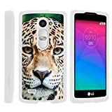 TurtleArmor | Compatible with LG Sunset Case | LG Power Case | LG Destiny Case [Slim Duo] Slim Compact 2 Piece Hard Protector Snap On Case Grip Matte on White Animal - Hypnotic Leopard