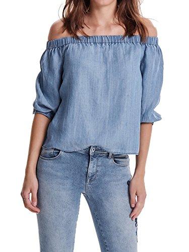 ONLY Damen onlJANICE Off Shoulder DNM TOP Bluse, Blau (Light Blue Denim Light Blue Denim), 36