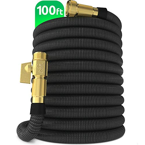 "Nifty Grower 100ft Garden Hose - New Expandable Water Hose with Double Latex Core 3/4"" Solid Brass Fittings Extra Strength Fabric - Flexible Expanding Hose with Storage Bag for Easy Carry"