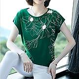 DYXYH Nueva Primavera Verano Casual Camisa Camisa Tops de algodón de Manga Suelta impresión Floral Blusa Femenina tamaño (Color : Green, Size : XXXL Code)