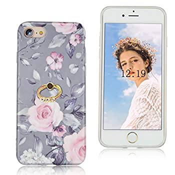 Feimeng Compatible iPhone SE/iPhone 7/iPhone 8 Case with Ring for Girls,Thin Slim Fit Full-Around Protective Cute Floral Flexible Soft Shell Phone Case Cover for iPhone SE/iPhone 7/8 Pink Flowers