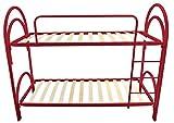 baldiflex emporio letto a castello con rete a doghe in legno ortopedica modello dolcilune, colore rosso