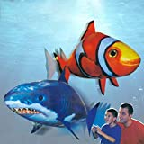 YYHOUSTOY Remote Air Swimmers Fish Controlled Flying Shark Gift Christmas for Kids Or Clownfish Flies
