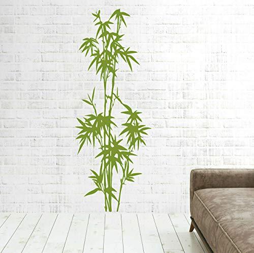 tjapalo® pk274 Wandtattoo Bambus Schilf Strauch Dekoration Wandaufkleber Wandtattoo Wohnzimmer Bambus, lindgrün, Größe: H140xB53cm