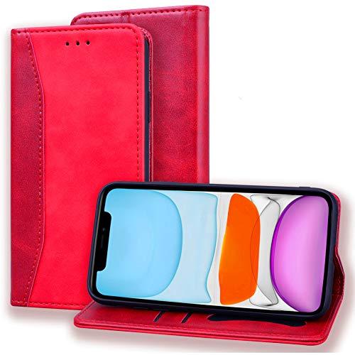 Hancda - Funda para iPhone XR (no para iPhone X), funda de piel con tapa magnética, estilo libro, con tarjetero, funda clásica para iPhone XR, color rojo