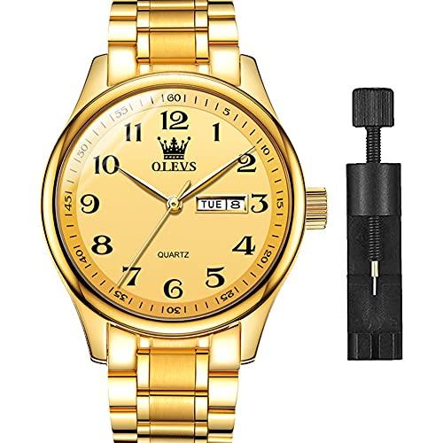 OLEVS Reloj de pulsera para hombre, de acero inoxidable, de lujo, analógico, de cuarzo, resistente al agua, luminoso, calendario, reloj de pulsera